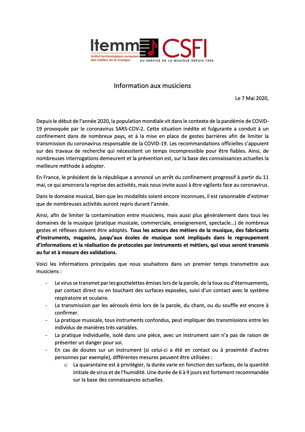 Lettre ITEMM/CSFI page 1